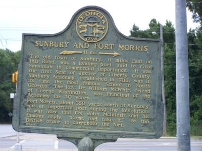 Sunbury and Fort Morris Marker image. Click for full size.