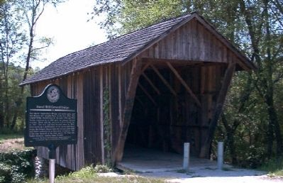 Stovall Mill Covered Bridge Marker and Bridge Photo, Click for full size