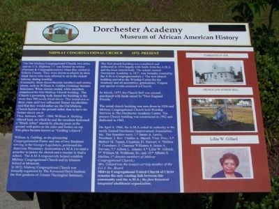 Dorchester Academy Marker, Midway Congregational Church 1872- Present image. Click for full size.