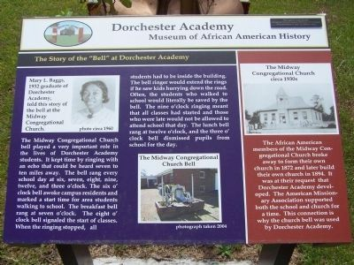 "Dorchester Academy Marker,The Story of the "" Bell "" at Dorchester Academy image. Click for full size."