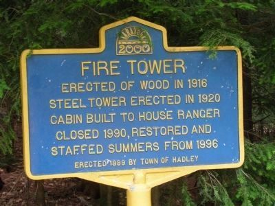Hadley Mountain Fire Tower Marker image. Click for full size.