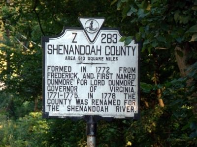 Shenandoah County Face of Marker image. Click for full size.