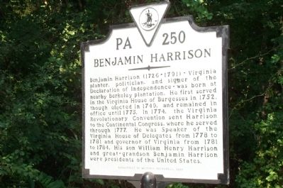 Benjamin Harrison Marker image. Click for full size.