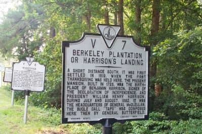 Berkeley Plantation or Harrison's Landing Marker image. Click for full size.