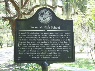 Savannah High School Marker image. Click for full size.