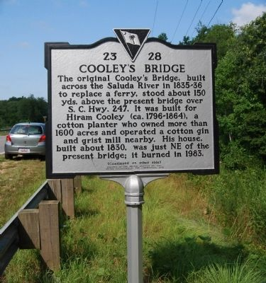 Cooley's Bridge Marker - Front image. Click for full size.