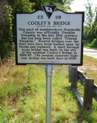 Cooley's Bridge Marker - Reverse image. Click for full size.