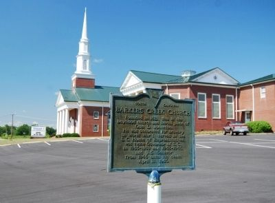 Barkers Creek Baptist Church Marker and Church image. Click for full size.