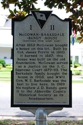 McGowan-Barksdale-Bundy House Marker - Reverse Photo, Click for full size