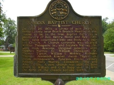 Sardis Baptist Church Marker Photo, Click for full size
