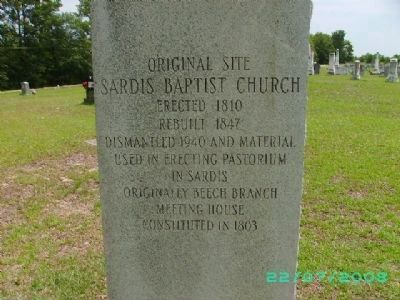 Original Site of Sardis Baptist Church Photo, Click for full size