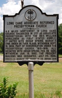 Long Cane Associated Reformed Presbyterian Church Marker image. Click for full size.