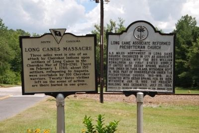 Long Cane Massacre and Long Associated Reformed Presbyterian Church Markers image. Click for full size.