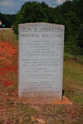 Olin D. Johnston Memorial Boulevard Marker Photo, Click for full size