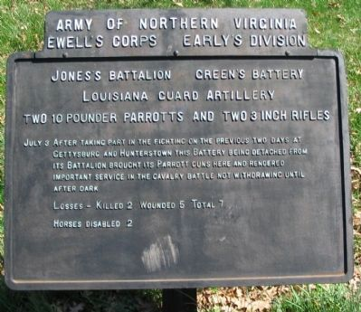 Jones's Battalion Green's Battery Tablet image. Click for full size.