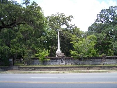 Midway Cemetery Wall and Monument to Generals Screven and Stewart image. Click for full size.