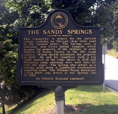 The Sandy Springs Marker image. Click for full size.