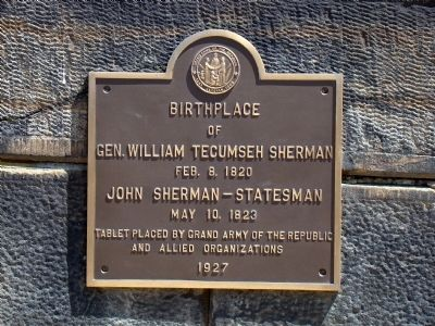 Birthplace of Gen. William Tecumseh Sherman Marker image. Click for full size.