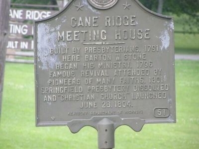 Cane Ridge Meeting House Marker image. Click for full size.