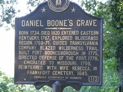 Daniel Boone's Grave Marker Photo, Click for full size