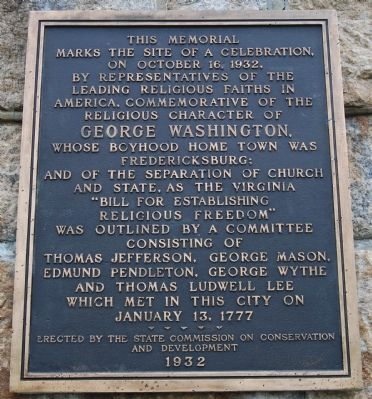Religious Liberty Commemorative Plaque image. Click for full size.