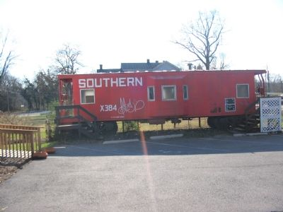 Railroad caboose outside Haymarket Museum image. Click for full size.