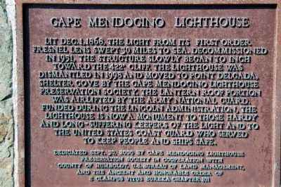 Cape Mendocino Lighthouse Marker image. Click for full size.
