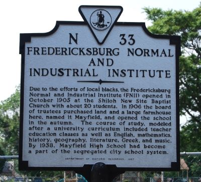 Fredericksburg Normal and Industrial Institute Marker image. Click for full size.