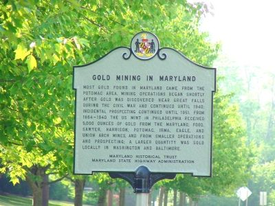 Gold Mining in Maryland Marker Photo, Click for full size