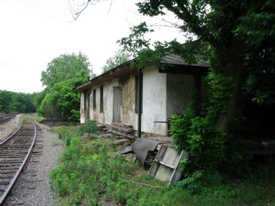 Railroad side view of station Photo, Click for full size