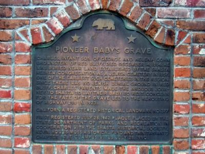 Pioneer Baby's Grave Marker Photo, Click for full size