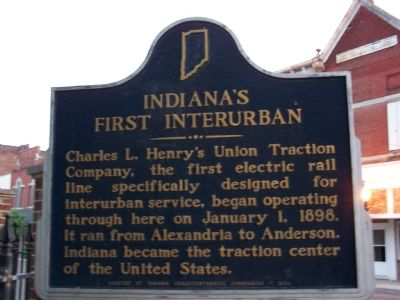 Indiana's First Interurban Marker image. Click for full size.