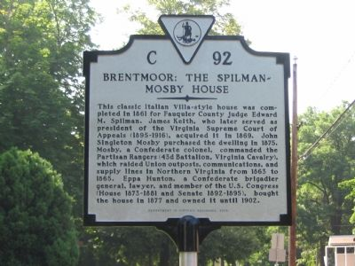 Brentmoor: The Spilman-Mosby House Marker Photo, Click for full size