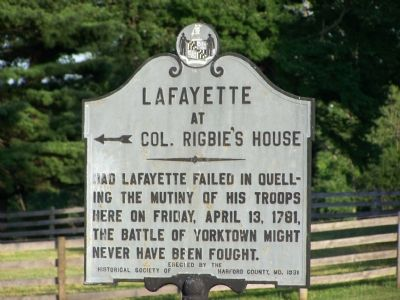 Lafayette at Colonel Rigbie�s House Marker image. Click for full size.