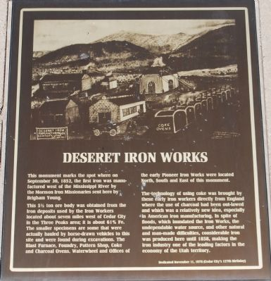 Deseret Iron Works Marker Photo, Click for full size