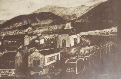 Close-up of artist rendering of iron works. Photo, Click for full size
