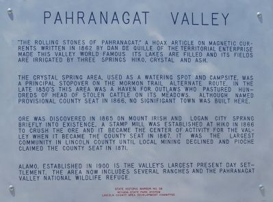 Pahranagat Valley Marker image. Click for full size.