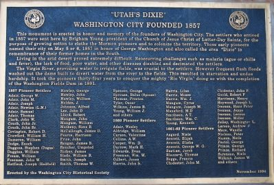 """Utah's Dixie"" Washington City Founded 1857 Marker Photo, Click for full size"