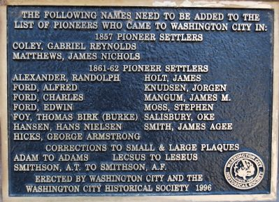 Additonal names of settlers Photo, Click for full size
