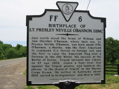 Birthplace of Lt. Presley Neville O'Bannon, USMC Marker image. Click for full size.
