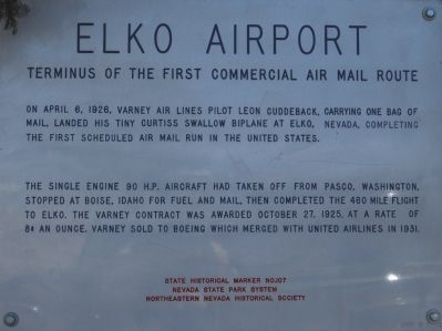 Elko Airport Marker image. Click for full size.