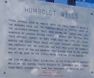 Humboldt Wells Marker image. Click for full size.