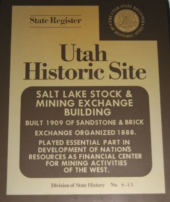 Salt Lake Stock & Mining Exchange Building Marker Photo, Click for full size