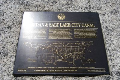 Jordan & Salt Lake City Canal Marker Photo, Click for full size