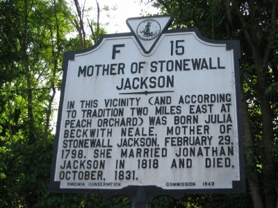 Mother of Stonewall Jackson Marker image. Click for full size.