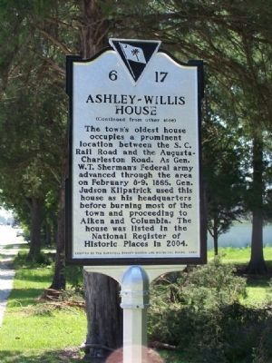Ashley ~ Willis House Marker </b>(reverse) image. Click for full size.
