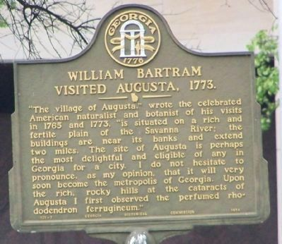 William Bartram Visited Augusta, 1773. Marker image. Click for full size.