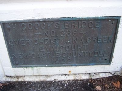 Plaque on Cooch's Bridge image. Click for full size.
