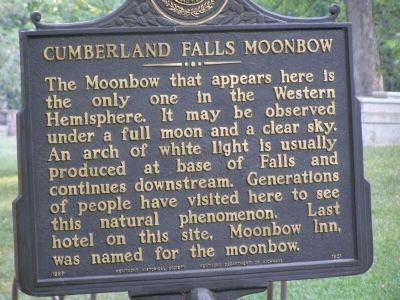 Cumberland Falls MoonBow Marker Photo, Click for full size
