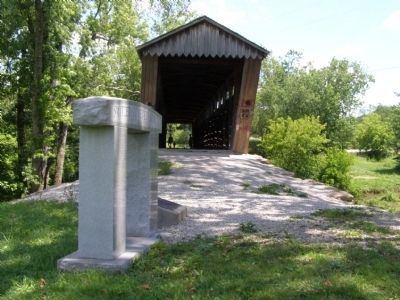 Switzer Covered Bridge Memorial Marker and Bridge Photo, Click for full size